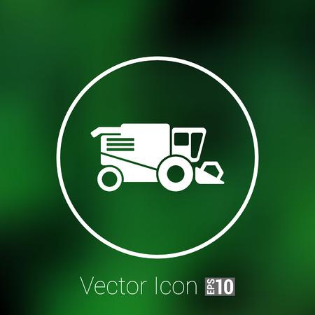 harvester: Combine harvester icon vector button  symbol concept.