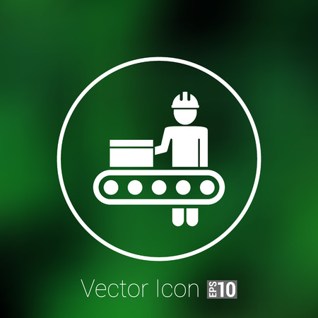 warehouse equipment: Engineering workshop Industrial operation icon vector button  symbol concept.
