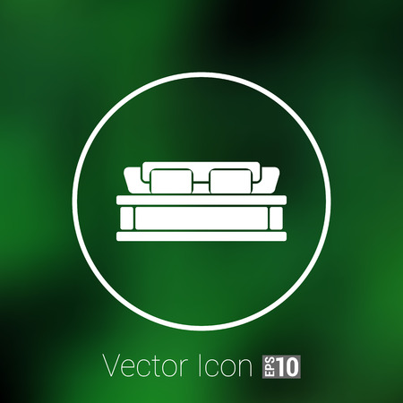 double bed: double bed icon vector button  symbol concept. Illustration