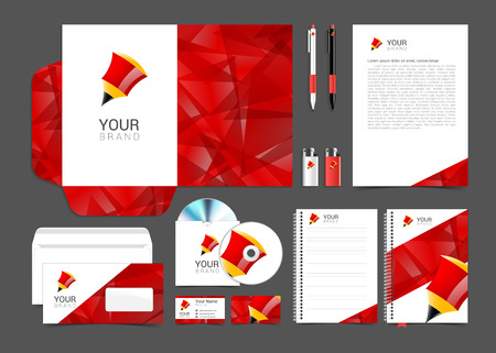 corporate identity sjabloon met rode elementen potlood. Stock Illustratie