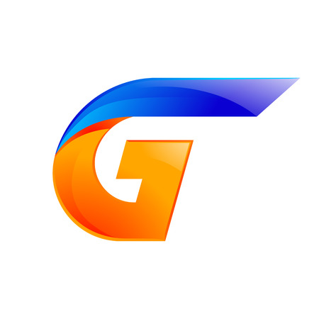 G letter blue and Orange  design Fast speed design template elements for application.