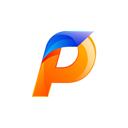 lettre alphabet: P lettre �l�ments de mod�le de conception de bleu et orange conception vitesse rapide pour l'application.