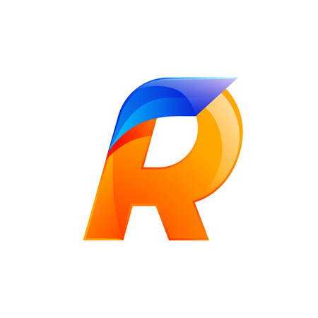 R letter blue and Orange  design Fast speed design template elements for application.