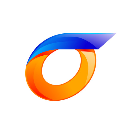 o letters: O letter blue and Orange  design Fast speed design template elements for application.
