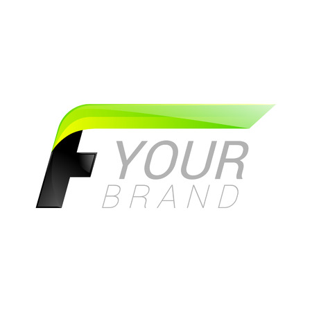 letter of application: F letter black and green  design Fast speed design template elements for application. Illustration