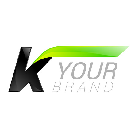 letter of application: K letter black and green  design Fast speed design template elements for application. Illustration