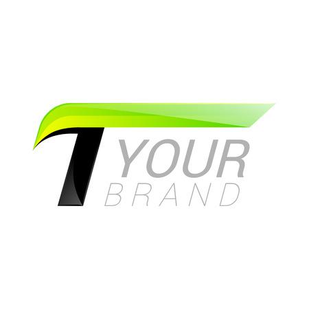 symbol sport: T Brief schwarz und grün Design Schnelle Geschwindigkeit Design-Vorlage Elemente für die Anwendung.
