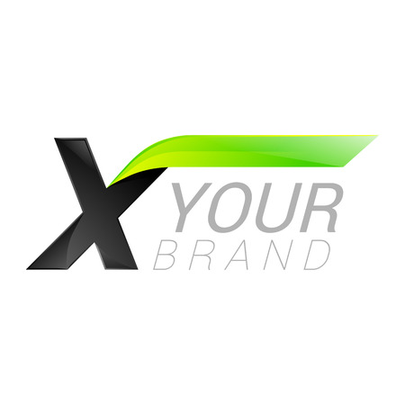 X letter black and green  design Fast speed design template elements for application.