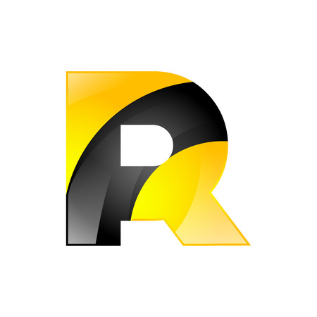 r: Creative yellow and black symbol letter R for your application or company design alphabet Graphics 3d letter.