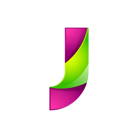 green technology: J letter green and pink  design template elements an icon for application company.