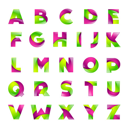 latin alphabet: Fun english alphabet green and pink color letters set font style design template elements for application.