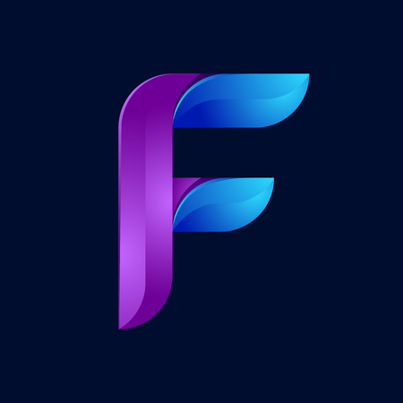 realism: F letter volume blue and purple color  design template elements.