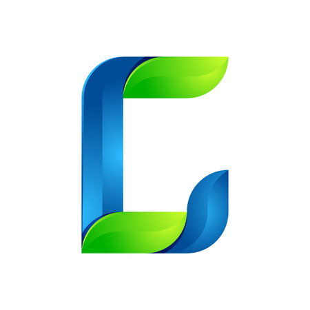 twist: C letter leaves eco , volume icon. Vector design green and blue template elements an icon for your ecology application or company.