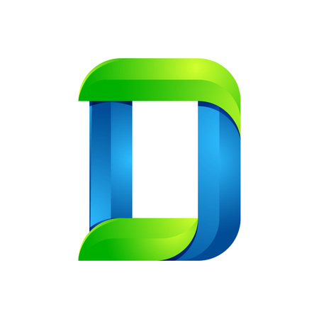 3d alphabet letter abc: D letter leaves eco , volume icon. Vector design green and blue template elements an icon for your ecology application or company. Illustration
