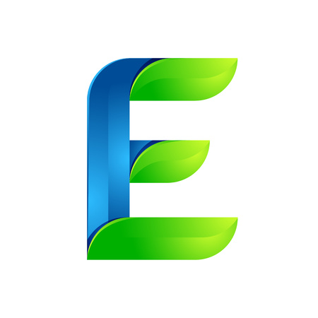 twist: E letter leaves eco , volume icon. Vector design green and blue template elements an icon for your ecology application or company.