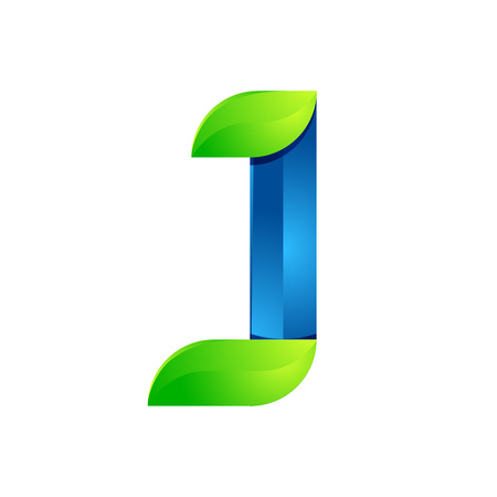 J: J letter leaves eco , volume icon. Vector design green and blue template elements an icon for your ecology application or company.