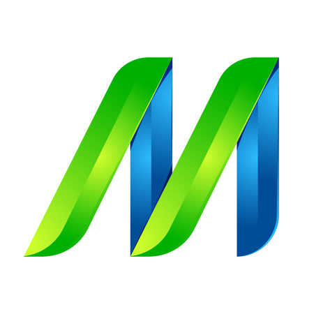 letter of application: M letter leaves eco , volume icon. Vector design green and blue template elements an icon for your ecology application or company.