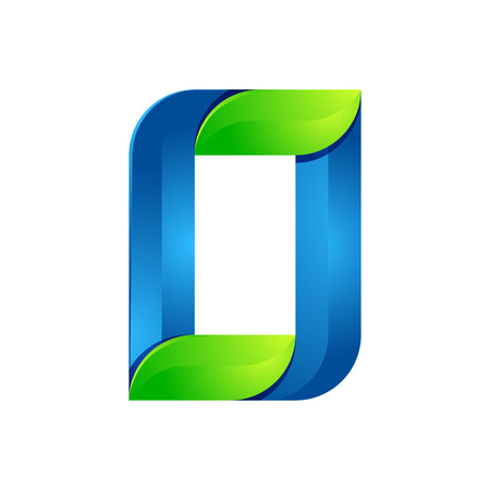 twist: O letter leaves eco , volume icon. Vector design green and blue template elements an icon for your ecology application or company.