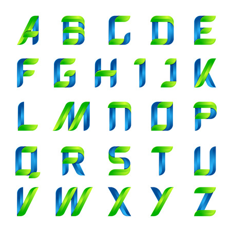 volume: Ecology english alphabet letters green and blue design template elements icon ecology application.