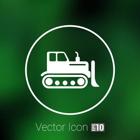 dozer: Crawler Dozer tractor icon vector button  symbol concept.