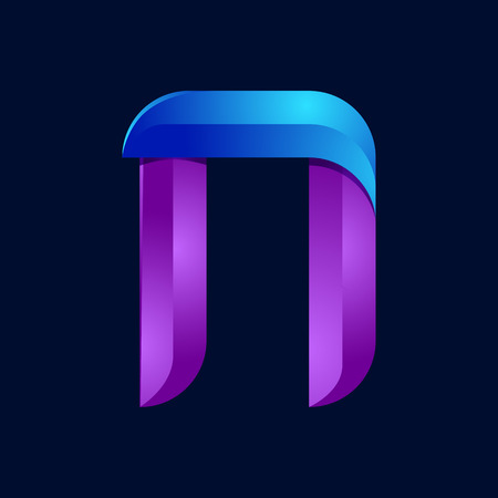 realism: N letter volume blue and purple color  design template elements.