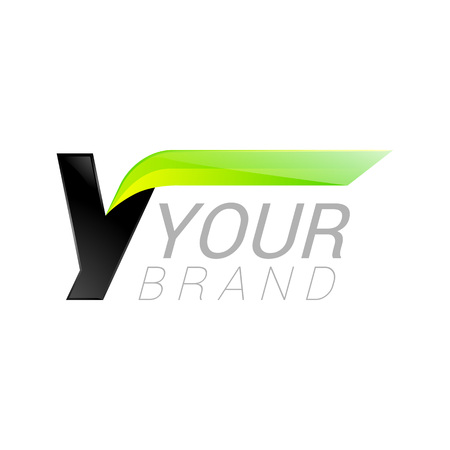 power delivery: Y letter black and green  design Fast speed design template elements for application.