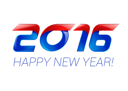new years resolution: Happy new year 2016 text design blue and red. Illustration