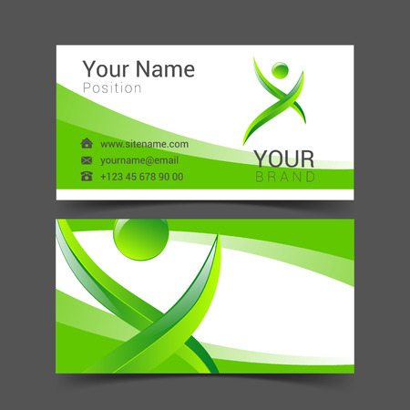 advertising network: social network card logo design green and blue abstract template set