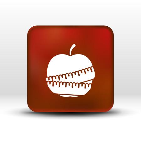 slimming: Vector Slimming apple icon slim weight diet.