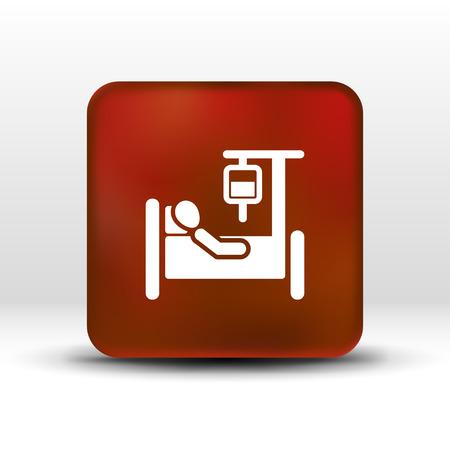 Aislado camilla del hospital icono cama iv recuperación de la inyección intravenosa. Ilustración de vector