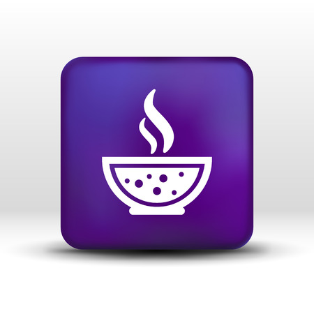 mushroom soup: Bowl of Hot Soup with spoon Line Art. Icon isolated. Illustration