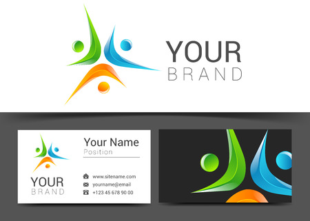 unite: Business card template with people icon