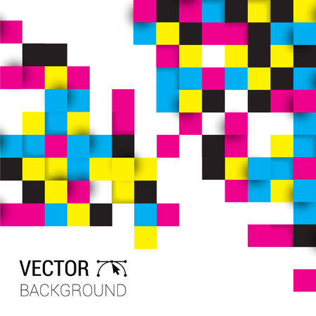 Background squares full color cmyk. Illustration of abstract texture with squares. Pattern design for banner, poster, flyer, card, postcard, cover, brochure.