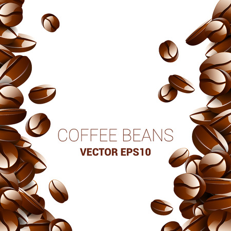 roaster: Vector coffee beans background collection with white area for copy space.
