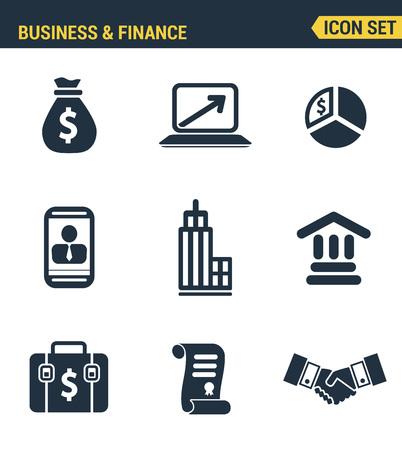 desarrollo econ�mico: Conjunto de iconos de alta calidad del desarrollo econ�mico empresarial, el crecimiento financiero. estilo de dise�o colecci�n de plano pictograma moderna. fondo blanco aislado.