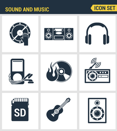multimedia pictogram: Icons set premium quality of sound symbols and studio equipment, music instruments, audio and multimedia objects. Modern pictogram collection flat design style. Isolated white background.