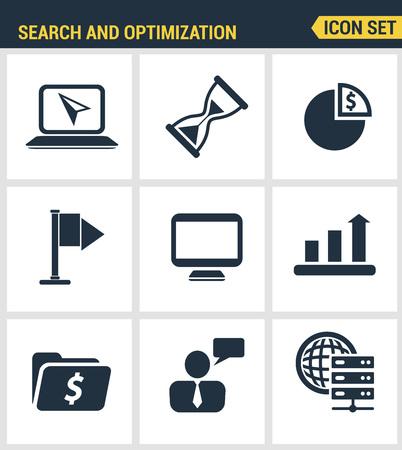 webpage: Icons set premium quality of website searching engine optimization, seo analytics and data management, webpage traffic development. Modern pictogram collection flat design style. Illustration