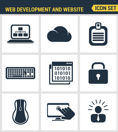 webpage: Icons set premium quality of web development and website programming process, webpage coding and user interface creating. Modern pictogram collection flat design style. Isolated white background.