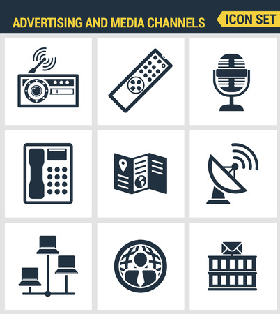 media distribution: Icons set premium quality of advertising media channels and ads distribution. Modern pictogram collection flat design style. Isolated white background. Illustration