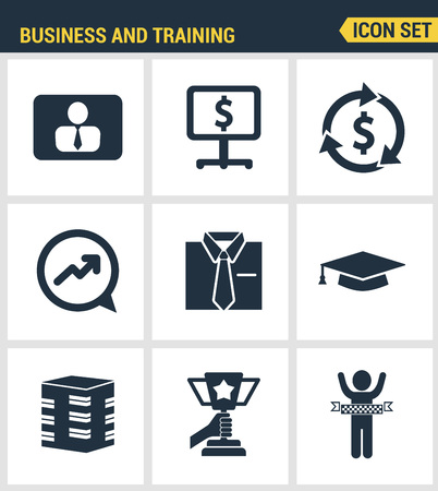 business leader: Icons set premium quality of corporate management and business leader training. Modern pictogram collection flat design style. Isolated white background.