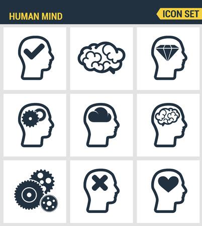 Conjunto de iconos de alta calidad de proceso de la mente humana, las características del cerebro y las emociones. colección pictograma moderno diseño plano colección de símbolos estilo. fondo blanco aislado. Ilustración de vector