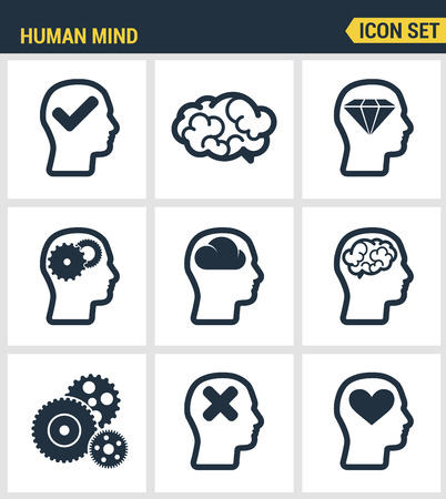 intellectually: Icons set premium quality of human mind process, brain features and emotions. Modern pictogram collection flat design style symbol collection. Isolated white background.