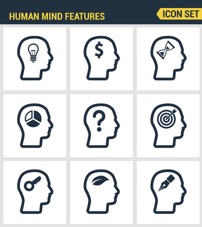 mind set: Icons set premium quality of human mind features, characters profile identity. Modern pictogram collection flat design style symbol collection. Isolated white background. Illustration