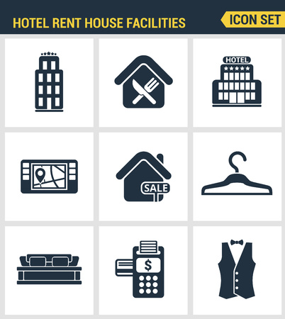 amenities: Icons set premium quality of hotel service amenities, rent house facilities. Modern pictogram collection flat design style symbol collection. Isolated white background.