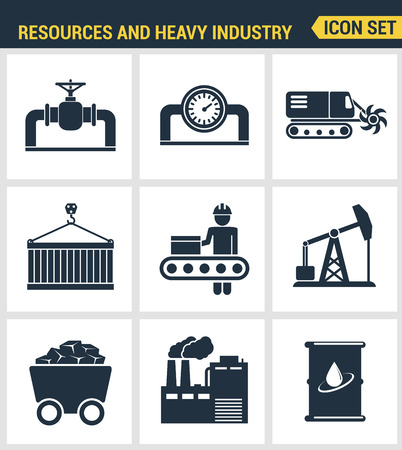 heavy set: Icons set premium quality of heavy industry, power plant, mining resources. Modern pictogram collection flat design style symbol collection. Isolated white background.