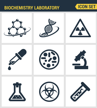 biochemical: Icons set premium quality of biochemistry research, biology laboratory experiment. Modern pictogram collection flat design style symbol collection. Isolated white background. Illustration