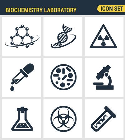 symbole chimique: Icons set qualité de la recherche en biochimie, d'expérience de laboratoire de biologie premium. collection pictogramme moderne design plat collection style symbole. fond blanc isolé.