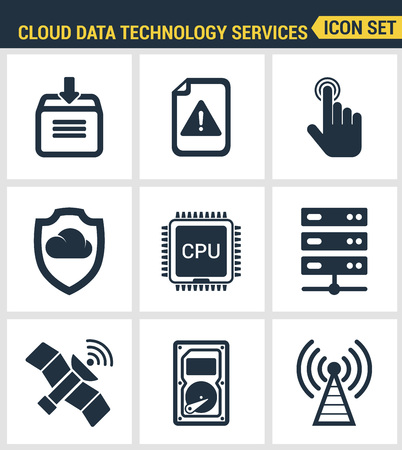syncing: Icons set premium quality of cloud data technology services, global connection. Modern pictogram collection flat design style. Isolated white background.
