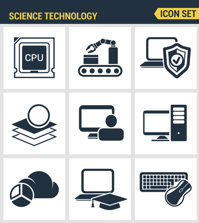 Icons set premium quality of data science technology, machine learning process. Modern pictogram collection flat design style symbol collection. Isolated white background. Illustration