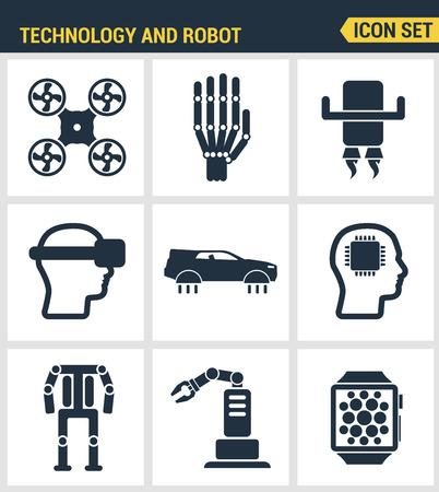 augmentation: Icons set premium quality of future technology and artificial intelligent robot. Modern pictogram collection flat design style symbol collection. Isolated white background. Illustration